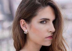 Brinco Prata 925 Ear jacket = 2 em 1 vazado pedras  micro zircônias transparente cravejadas
