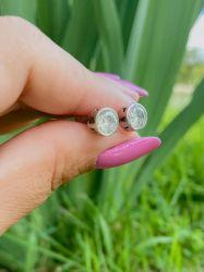 Brinco Prata 925 pedra zircônia transparente cravejada