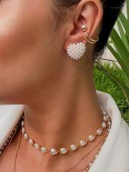 Ear clip = Piercing fake  banhado a ouro 18k detalhe duas pérolas