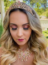 Conjunto luxo 5 peças coroa colar brinco anel e bracelete banhados a ouro 18k pedras coloridas cravejadas