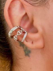 Ear clip = Piercing fake CD vazado detalhe em micro zircônias transparente