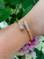 Bracelete pedras cravejadas micro zircônias transparente