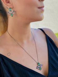Conjunto colar e brinco ródio negro pedras cristais coloridos