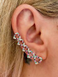 Brinco ear cuff corações vazados pedras cravejadas micro zircônias coloridas