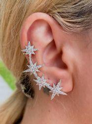 Brinco ear cuff 4 estrelas pedras micro zircônias transparente cravejadas