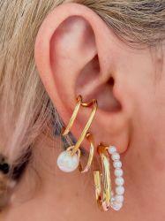 Brinco Ear hook unilateral banhado a ouro 18k detalhe pérola branca