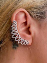 Brinco Ear cuff pedras cravejadas micro zircônias transparente veste super bem na orelha