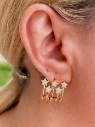 Brinco ear cuff 5 estrelas pedras cravejadas micro zircônias