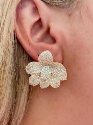 Brinco flor ear jacket = 2 em 1 pedras cravejadas micro zircônias
