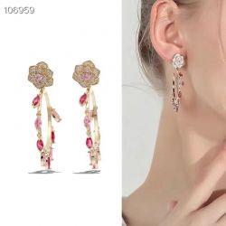 Brinco ear jacket = 2 em 1 formato rosa pedras micro zircônias transparente argola com pingente gota pedras cristais